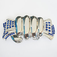Fist Hand Full of Cash Blue Rhinestones  Riem Buckle/Gesp