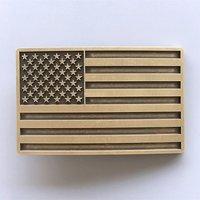 Vintage Bronze Plated American USA Flag  Riem Buckle/Gesp
