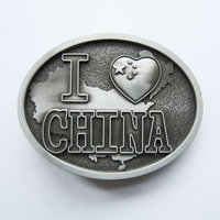 I Love China Chinese Flag Oval Mat Vintage Riem Buckle/Gesp