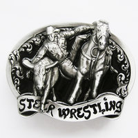 Black Rodeo Steer Wrestling Western Riem Gesp/Buckle