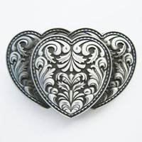 Triple Hearts Metal Flower 3D Western Riem Buckle/Gesp