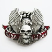 Rebel Rider Schedel met Vleugels Riem Gesp/Buckle