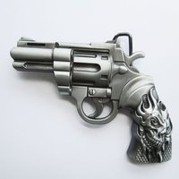 Tattoo Skull Revolver Gun Riem Buckle/Gesp