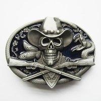 Schedel Western Rifle Cowboy Blauwe Riem Gesp/Buckle