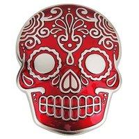 Inca Schedel Masker Rood Riem Buckle/Gesp