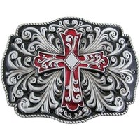 Keltische Design Kruis Zwart/Rood Riem Buckle/Gesp