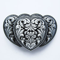 Triple Hearts Flower 3D Zwart Riem Buckle/Gesp