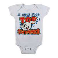 I Was The Top Swimmer - Wit Baby Romper