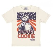 Sesamstraat - Cookie Monster - Me Want Cookie - Wit Kinder T-shirt