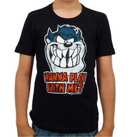 Looney Tunes Taz Wanna Play Kinder T-shirt zwart