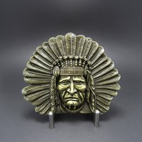 Native American Indian Chief Western Brons Riem Buckle/Gesp