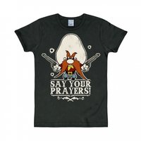 Looney Tunes Say your Prayers Heren slim-fit T-shirt zwart