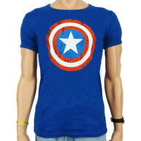 Captain America Shield Marvel DC Comics Heren slim-fit T-shirt blauw