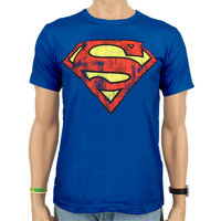 Superman - Logo - DC Comics - Vintage Blauw Heren easy-fit T-shirt