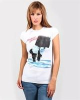Michael Jackson Dancing Feet Dames Wit Amplified T-shirt