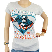 Captain America My Boyfriend is a Superhero Marvel Dames Grijs T-shirt