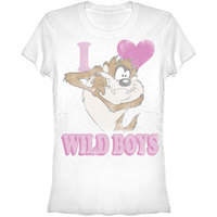 Looney Tunes Taz Love Wild Boys Dames Wit T-shirt