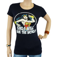 Wonder Woman Save the World NEW DC Comics Dames Blauw T-shirt