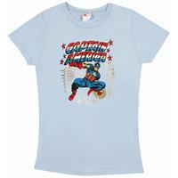 Captain America Marvel DC Comics Dames Licht Blauw T-shirt