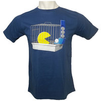 Pac-Man Cage Retro Art Graphic Heren Blauw T-shirt