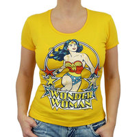 Wonder Woman Stars Dames Geel T-shirt