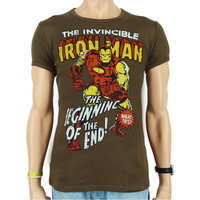 The Invincible Iron Man Marvel Heren Olijf slim-fit T-shirt