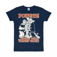 Popeye Knows What Women Want Heren Blauw slim-fit T-shirt