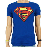 Superman Logo DC Comics Vintage Heren Blauw slim-fit T-shirt