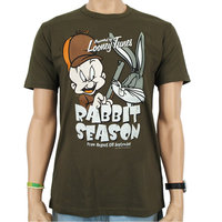 Looney Tunes Rabbit Season Heren olijf groen easy-fit T-shirt