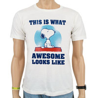 Peanuts - Snoopy Awesome - Wit Heren easy-fit T-shirt