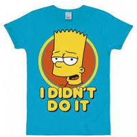 Bart Simpson I Didn't Do It Heren Blauw slim-fit T-shirt