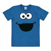 Sesamstraat Cookie Monster Face Heren Blauw slim-fit T-shirt