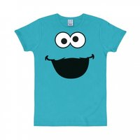 Sesamstraat Cookie Monster Face Heren slim-fit T-shirt blauw