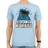 Sesamstraat Cookie Monster Heren licht blauw easy-fit T-shirt