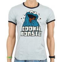 Sesamstraat Cookie Monster Heren Licht Blauw slim-fit T-shirt Ringer