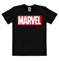 Marvel Logo Heren Organic easy-fit T-shirt zwart