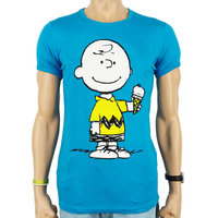 Peanuts Charlie Brown Ice Cream Heren slim-fit T-shirt turquoise blauw