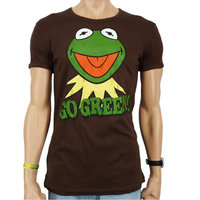 De Muppets - Kermit  - Go Green  - Heren Bruin slim-fit T-shirt