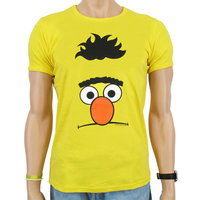 Sesamstraat Face Bert Heren slim-fit T-shirt geel