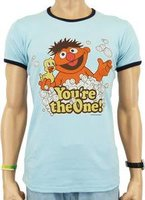 Sesamstraat Ernie You are the One Heren Licht Blauw slim-fit T-shirt Ringer