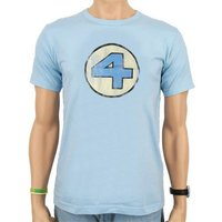 Fantastic Four Vintage Logo Heren Denim Blauw easy-fit T-shirt