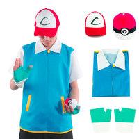 Pokemon Ash Ketchum Trainer Kostuum Jas Bal Pet handschoen