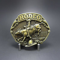 New Vintage Bronze Plated Western Rodeo Race Cowboy  Riem Buckle /Gesp