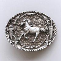 Paard in Galop Zwart blank Riem Buckle/Gesp