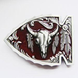 New Vintage Red Arrowhead Bull Western Riem Buckle/gesp