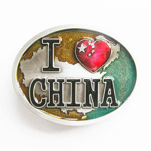 I Love China Chinese Flag Oval Vintage  Riem Buckle/Gesp