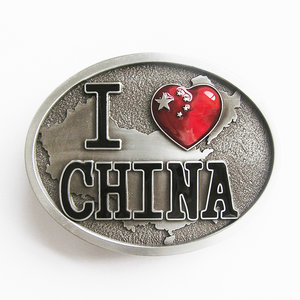I Love China Chinese Flag hart Oval Vintage Riem Buckle/Gesp