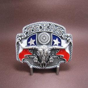 Silver Plated Texas State Flag Longhorn Riem Buckle/Gesp