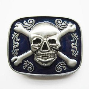 Skull Bones Jolly Roger Pirate blauw glazuur Riem Buckle/Gesp