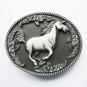 Paard in Galop Zwart as Riem Buckle/Gesp